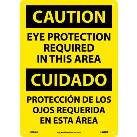 Bilingual Plastic Sign - Caution Eye Protection Required In This Area