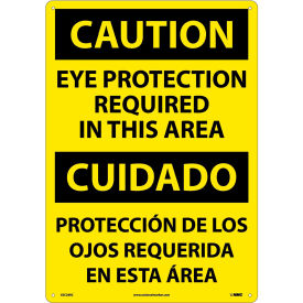 Bilingual Plastic Sign Caution Eye Protection Required In This Area