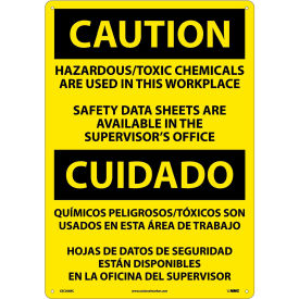 Bilingual Plastic Sign - Caution Hazardous/Toxic Chemicals Are Used In Workplace
