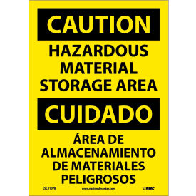 Bilingual Vinyl Sign - Caution Hazardous Material Storage Area