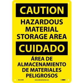 Bilingual Plastic Sign - Caution Hazardous Material Storage Area