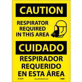 Bilingual Vinyl Sign - Caution Respirator Required In This Area