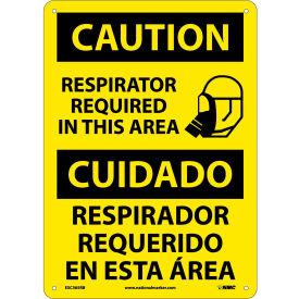 Bilingual Plastic Sign - Caution Respirator Required In This Area