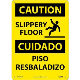 Bilingual Aluminum Sign - Caution Slippery Floor