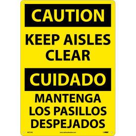 Bilingual Plastic Sign - Caution Keep Aisles Clear