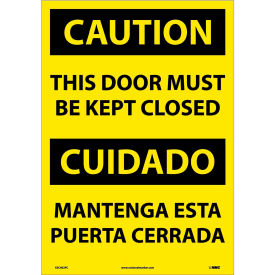 Bilingual Vinyl Sign - Caution This Door Must Be Kept Closed