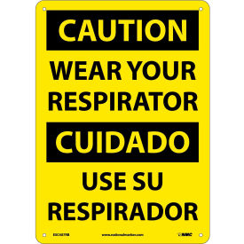 Bilingual Plastic Sign - Caution Wear Your Respirator