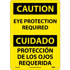 Bilingual Aluminum Sign Caution Eye Protection Required