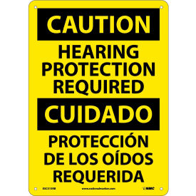 Bilingual Plastic Sign - Caution Hearing Protection Required