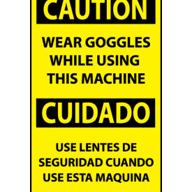 Bilingual Machine Labels - Caution Wear Goggles While Using This Machine