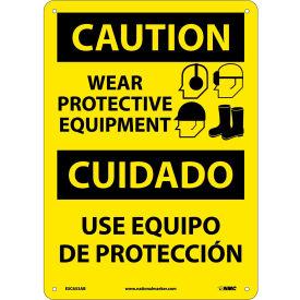 Bilingual Aluminum Sign - Caution Wear Protective Equipment