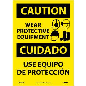 Bilingual Vinyl Sign - Caution Wear Protective Equipment