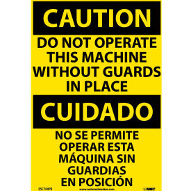 Bilingual Vinyl Sign - Caution Do Not Operate This Machine Without Guards