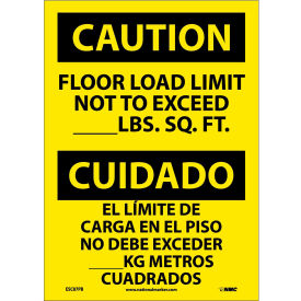 Bilingual Vinyl Sign - Caution Floor Load Limit Not To Exceed