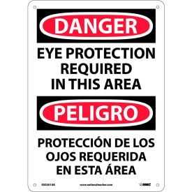 Bilingual Aluminum Sign Danger Eye Protection Required In This Area