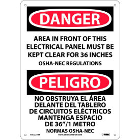 Bilingual Plastic Sign - Danger Area In Front Of This Electrical Panel Clear