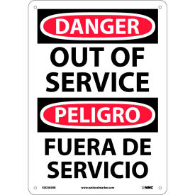 Bilingual Plastic Sign - Danger Out Of Service