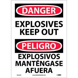 Bilingual Vinyl Sign - Danger Explosives Keep Out