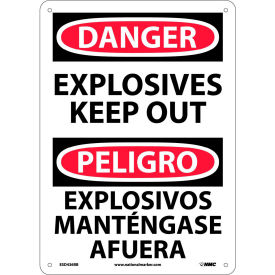 Bilingual Plastic Sign - Danger Explosives Keep Out