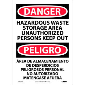 Bilingual Vinyl Sign - Danger Hazardous Waste Storage Area Unauthorized Keep Out