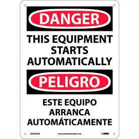 Bilingual Aluminum Sign - Danger This Equipment Starts Automatically