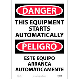 Bilingual Vinyl Sign - Danger This Equipment Starts Automatically