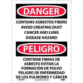 Bilingual Vinyl Sign - Danger Contains Asbestos Fibers Avoid Creating Dust