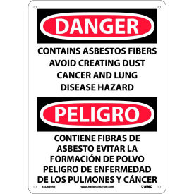 Bilingual Plastic Sign - Danger Contains Asbestos Fibers Avoid Creating Dust