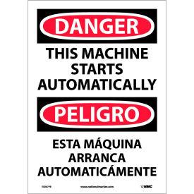 Bilingual Vinyl Sign - Danger This Machine Starts Automatically