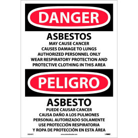 Bilingual Vinyl Sign - Danger Asbestos Cancer And Lung Disease Hazard