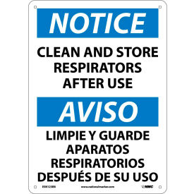 Bilingual Plastic Sign - Notice Clean And Store Respirators After Use