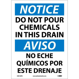Bilingual Vinyl Sign - Notice Do Not Pour Chemicals In This Drain