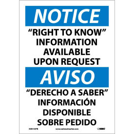 """Bilingual Vinyl Sign - Notice """"Right To Know"""" Information Available Upon Request"""