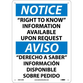 """Bilingual Plastic Sign - Notice """"Right To Know"""" Information Available Request"""