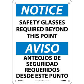Bilingual Aluminum Sign - Notice Safety Glasses Required Beyond This Point