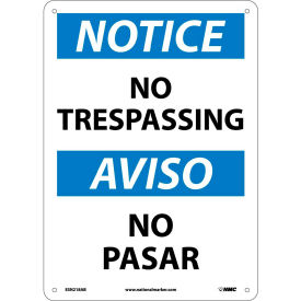 Bilingual Aluminum Sign - Notice No Trespassing
