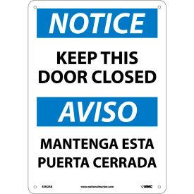 Bilingual Aluminum Sign - Notice Keep This Door Closed