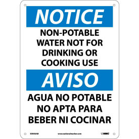 Bilingual Aluminum Sign - Notice Non-Potable Water Not For Drinking Use