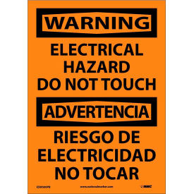 Bilingual Vinyl Sign - Warning Electrical Hazard Do Not Touch