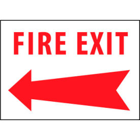 Fire Safety Sign - Fire Exit with Left Arrow - Vinyl