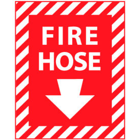 Fire Safety Sign - Fire Hose with Down Arrow - Vinyl