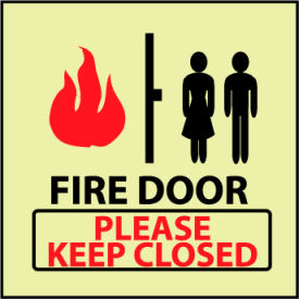 Glow Sign Rigid Plastic - Fire Door Please Keep Closed