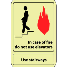 Glow Sign Vinyl - 14X10 In Case Of Fire Do Not Use Elevator