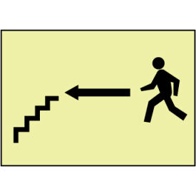 Glow Sign Rigid Plastic - Stairs Left Arrow Man