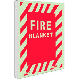 "NMC GLTV19 Fire Sign, Fire Blanket, 12"" x 9"", 6 Hour Glow Rigid Plastic"