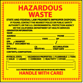Hazardous Waste Paper Labels - State of California