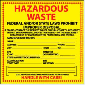 Hazardous Waste Vinyl Labels - State of New Jersey