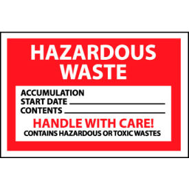 Hazardous Waste Vinyl Labels - Hazardous Waste Handle With Care