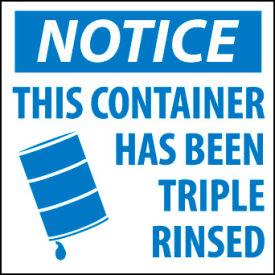 Hazardous Waste Vinyl Labels - Notice This Container Has Been Triple Rinsed