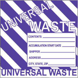 Hazardous Waste Paper Labels - Universal Waste (Striped)